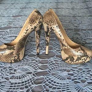 ALDO 5 inch Snake Skin Heels sz 37  sz7